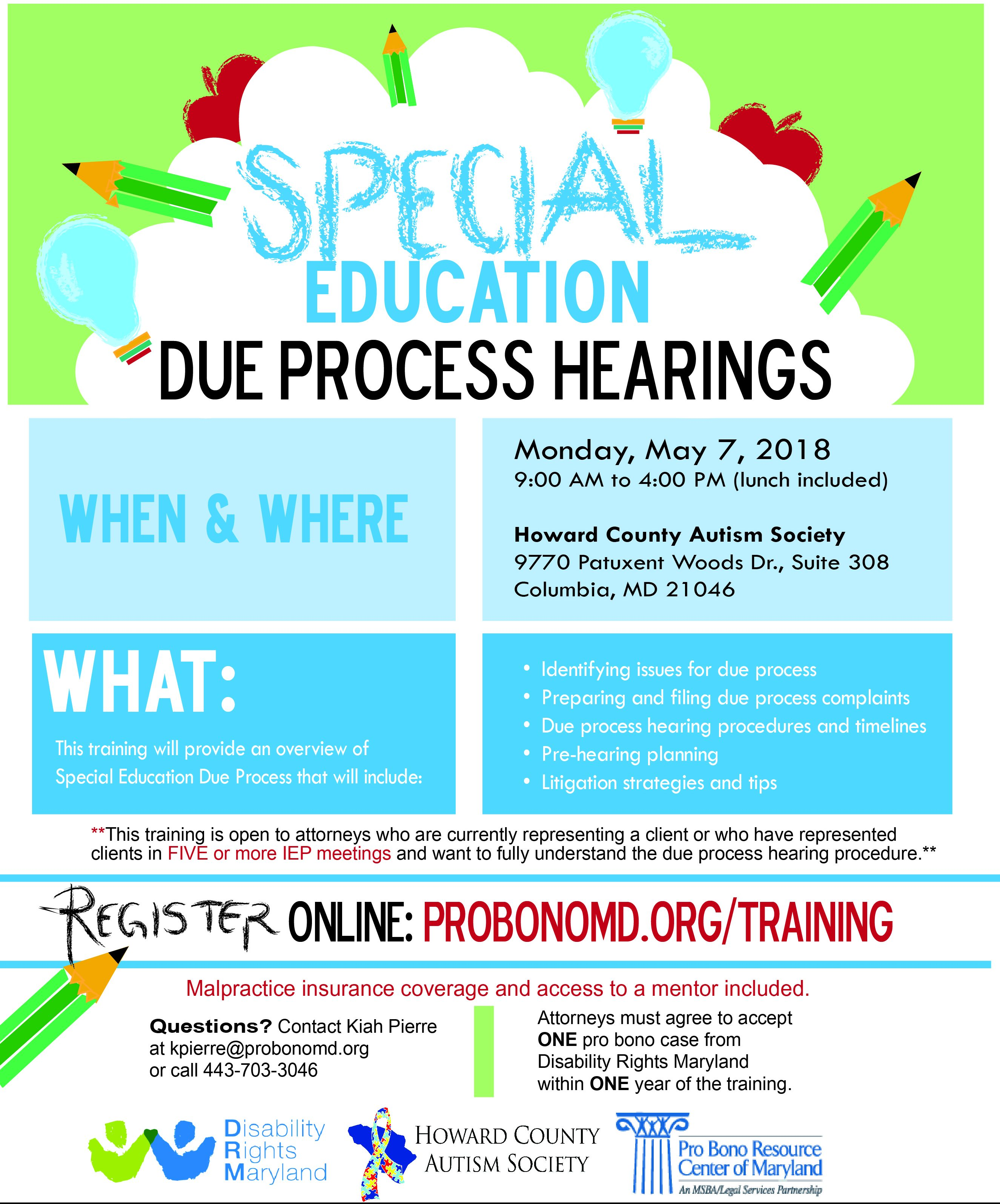 Special Education Training Efforts To >> Special Education Due Process Hearings Pro Bono Resource Center Of