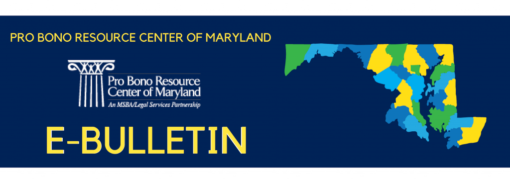 Pro Bono Resource Center of Maryland E-Bulletin header, with PBRC logo and picture of Maryland