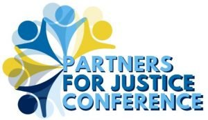 "Five stylized people holding hands, with the words ""Partners for Justice"""